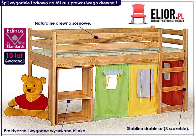 łóżko dla dziecka z biurkiem