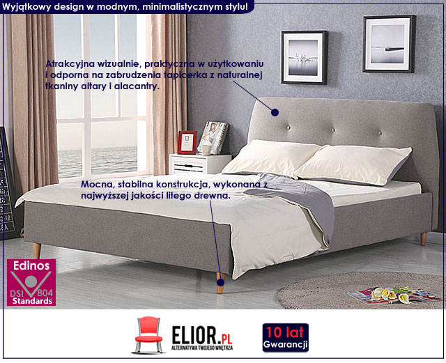 łóżko 160x200 tapicerowane popielate