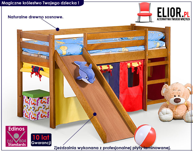 łóżko drewniane ze zjeżdżalnią