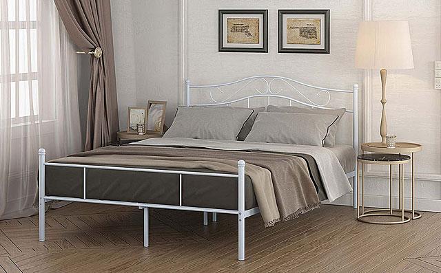 łóżko białe metalowe inello