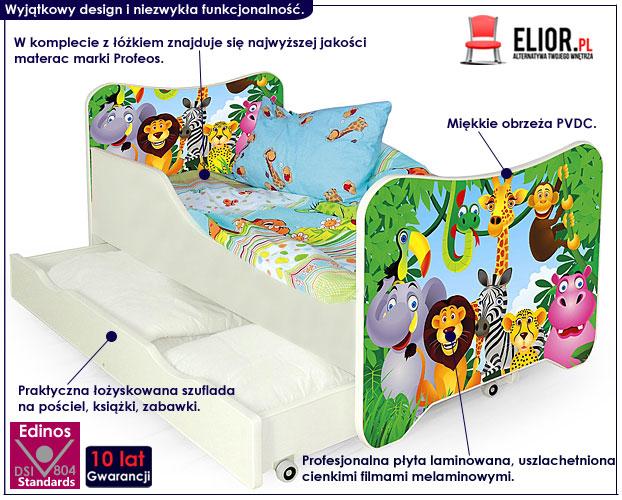 łóżko bajkowe dzeicięce z motywem dżungla