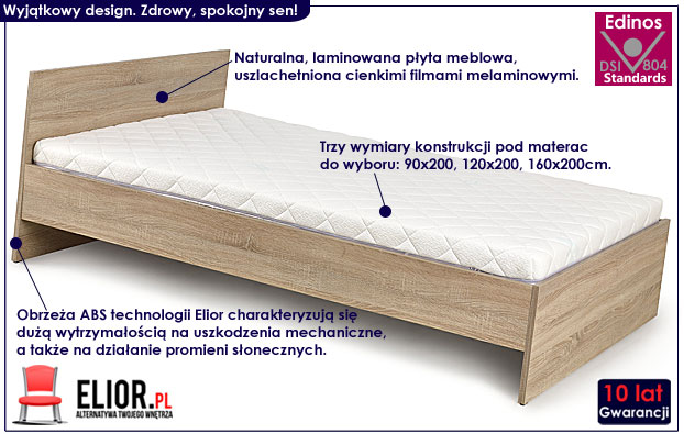 łóżko lines dąb sonoma