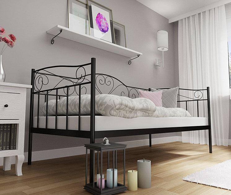 łóżko czarne metalowe 90x200 jednoosobowe pojedyncze