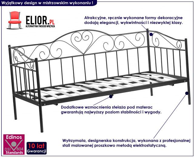 łóżko metalowe czarne 90x200