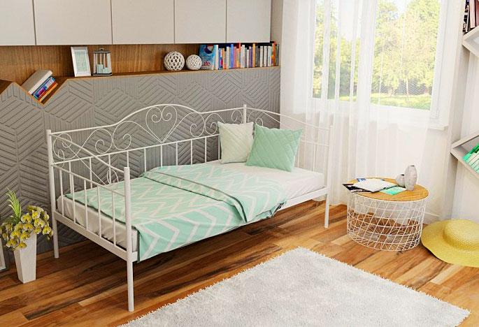 łóżko białe metalowe 90x200 jednoosobowe