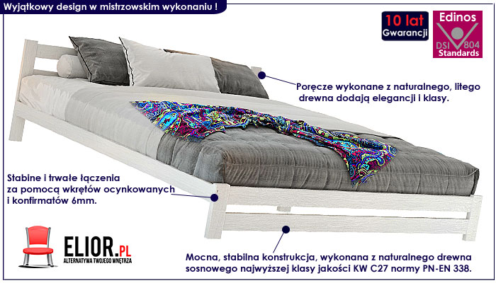 łóżko biale drewniane 120x200