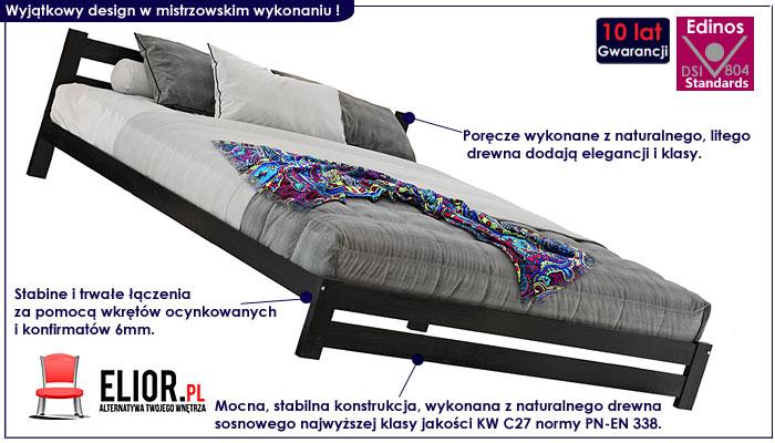 łóżko czarne drewniane 120x200