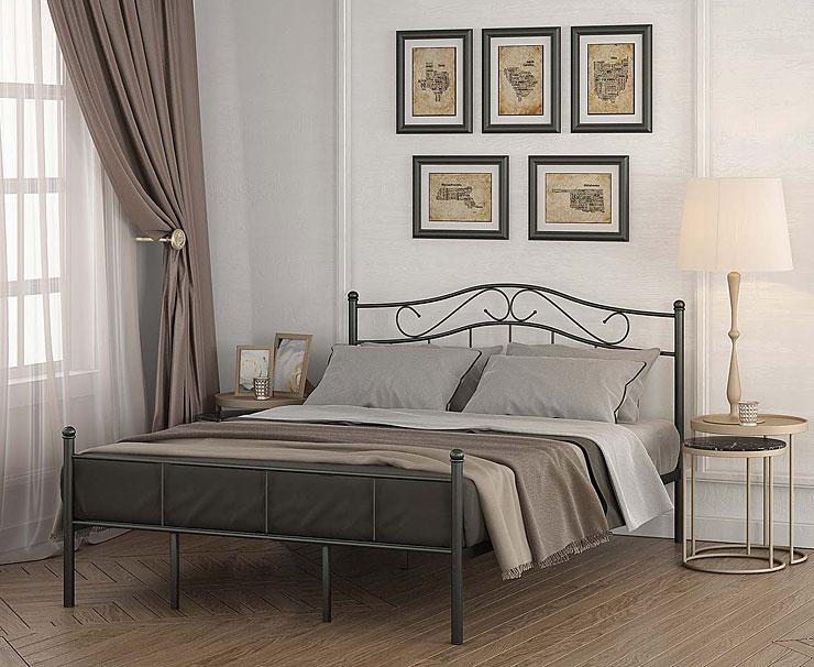 łóżko czarne metalowe inello
