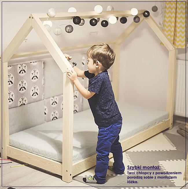 łóżko domek drewniane