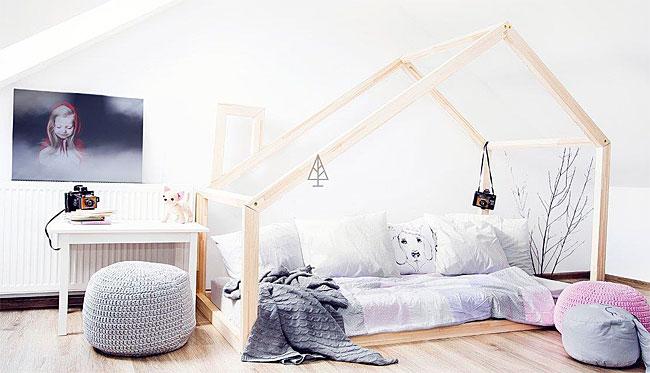 łóżko dla dzieci z domkiem