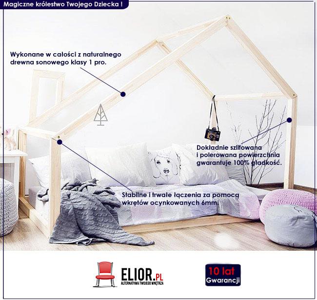 drewniane łóżko domek dla dziecka