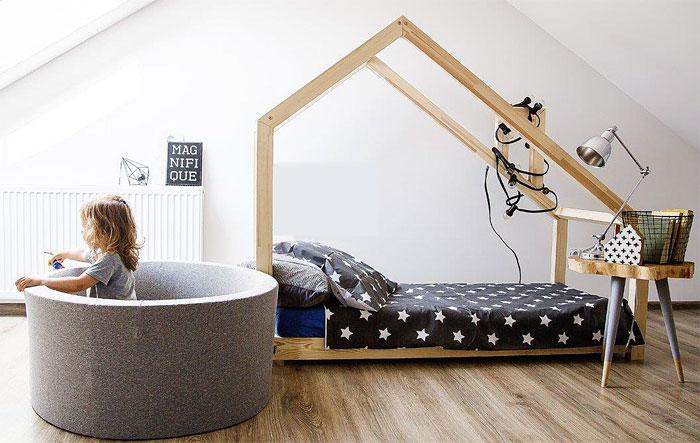 łóżko ze stelażem drewniane dziecięce