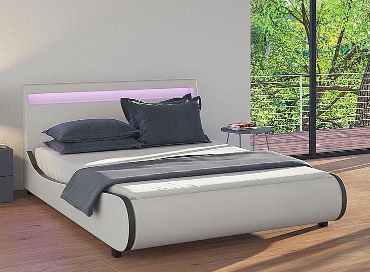 łóżko białe tapicerowane led