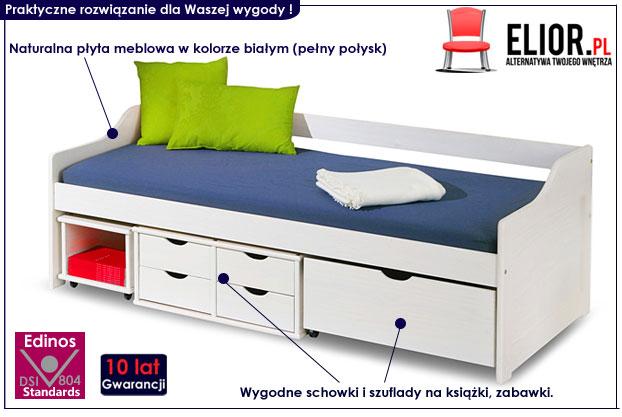 łóżko z szufladami białe
