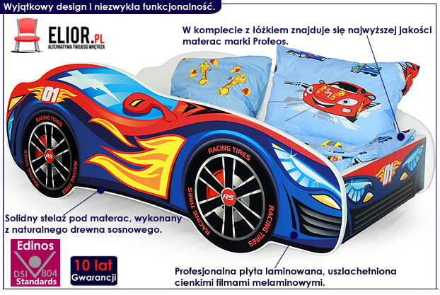 łóżko dziecięce auto sportowe