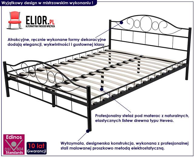 łóżko metalowe czarne 140x200 sanser