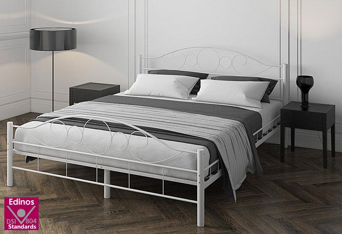 łóżko białe metalowe 140x200