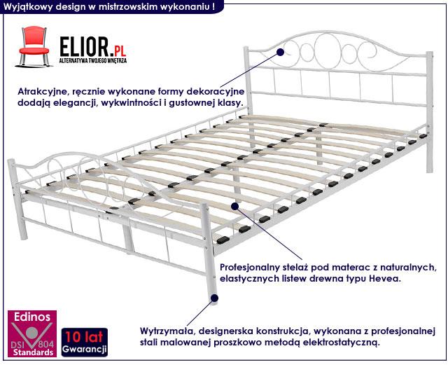 łóżko metalowe białe 140x200 sanser