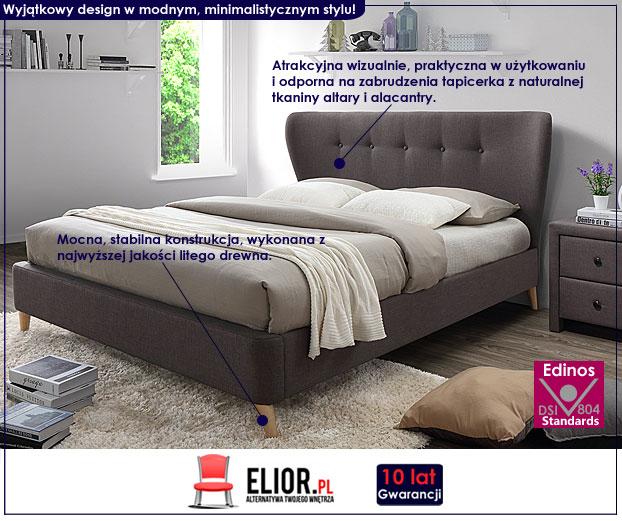 łóżko brązowe tapicerowane