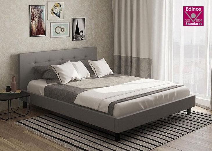 łóżko 140x200 pikowane szare popiel