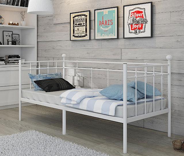 łóżko czarne metalowe 90x200