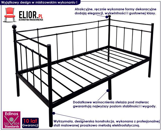łóżko metalowe czarne toles 90x200