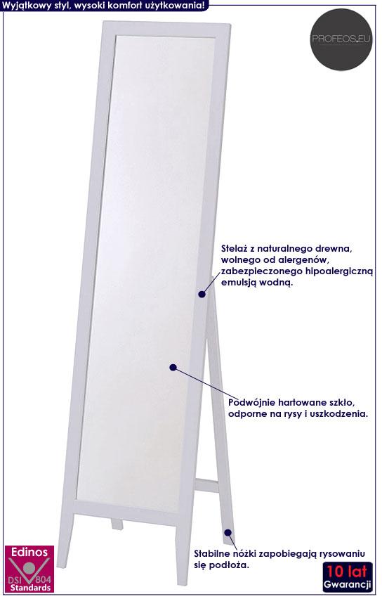 Białe lustro stojące z drewnianą ramą Regis