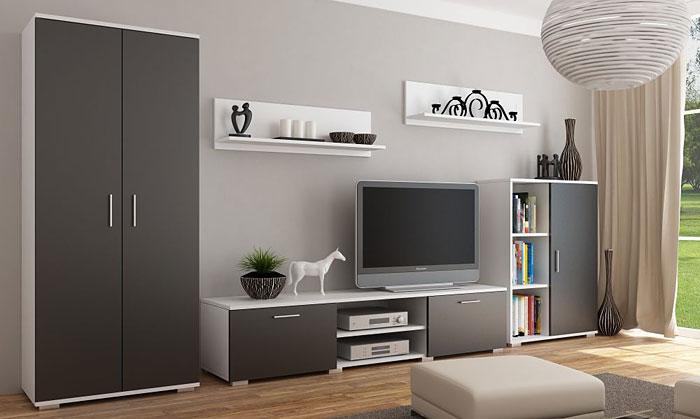 Biało-czarny komplet mebli RTV Pixelo 4X