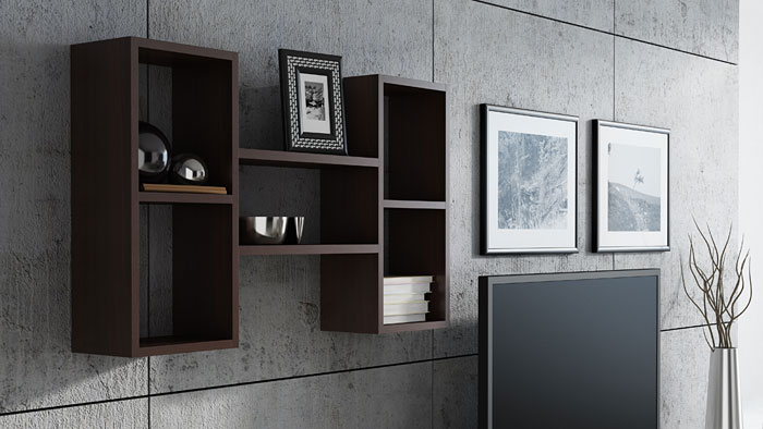 Półka ścienna do kuchni, salonu, sypialni wenge Lensa 2X