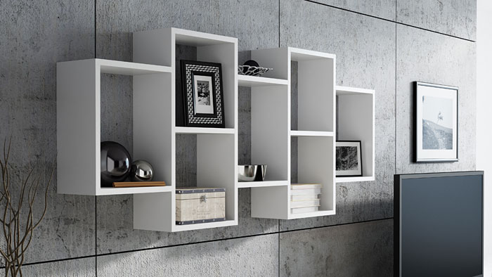 Biała półka ścienna do salonu, kuchni Lensa 3X