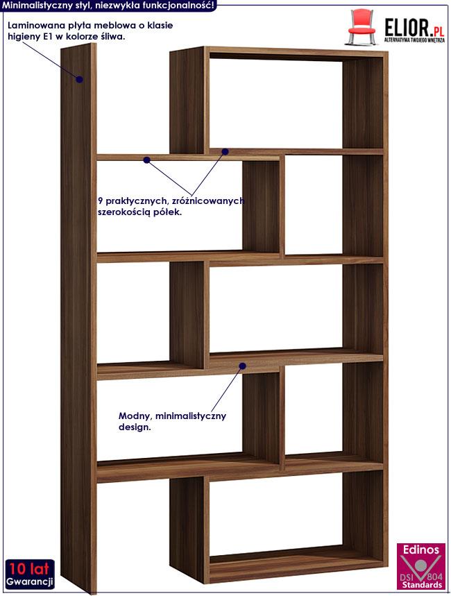 Regał biurowy z 9 półkami śliwa Irvan 3X