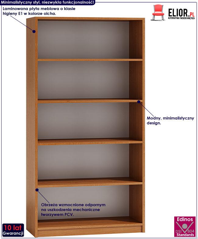 Regał z 5 półkami olcha Nidan 4X