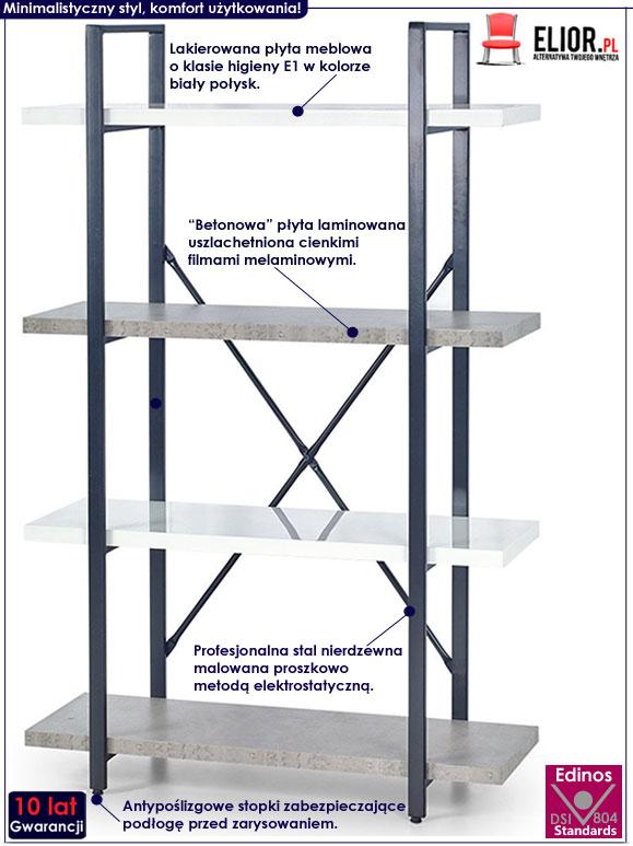 Minimalistyczny regał na książki do loftu Tones 4X