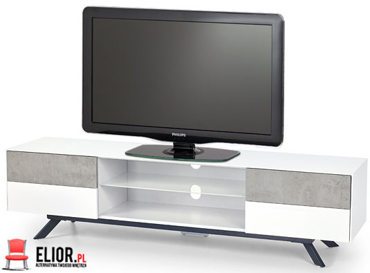 Nowoczesna szafka pod telewizor biała, beton Tones 6X