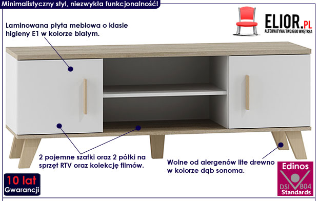 Skandynawska biała szafka pod telewizor RTV Lefis 4X