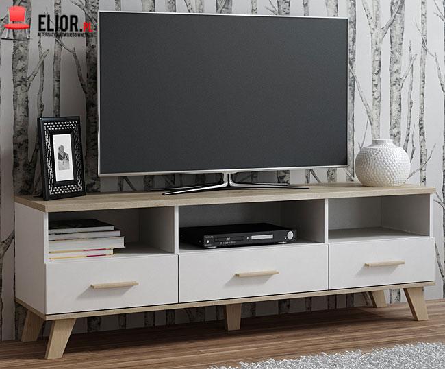 Biała szafka na telewizor w minimalistycznym stylu Lefis 5X