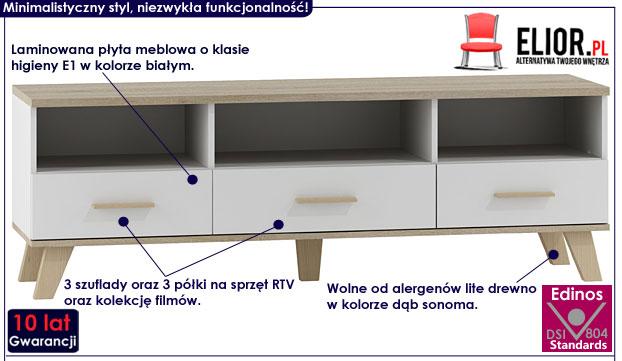 Minimalistyczna szafka RTV, biała Lefis 5X
