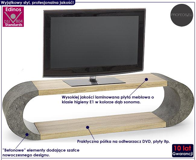 Industrialny betonowy stolik pod telewizor dąb sonoma Lineo