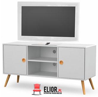 Minimalistyczna biała szafka pod telewizor Lomes 5X