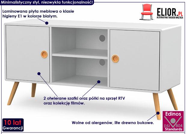 Skandynawska biała szafka RTV Lomes 5X