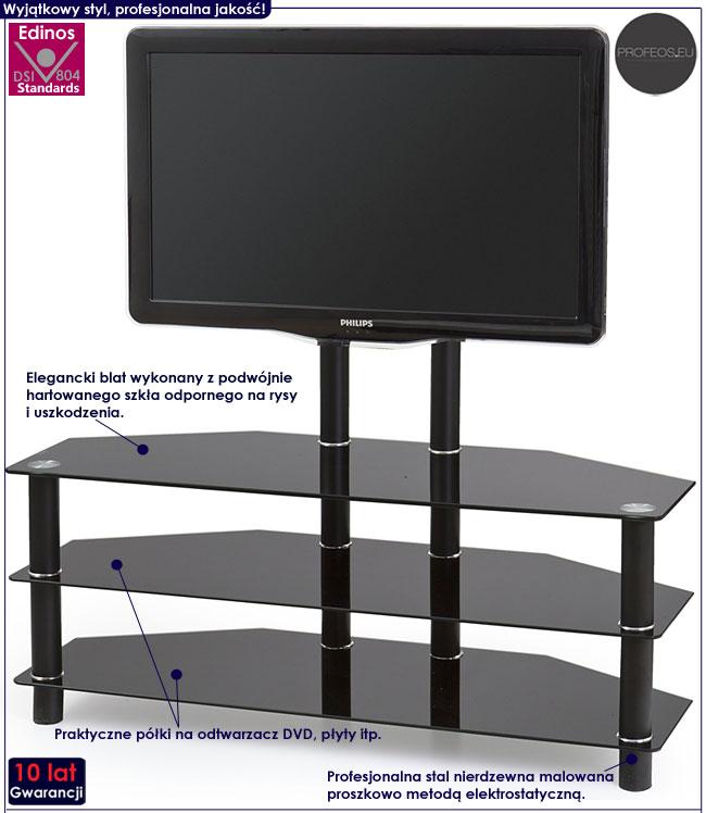 Czarny szklany stolik pod telewizor Ravin