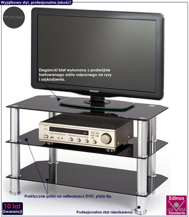 Czarny stolik szklany RTV TV Sento
