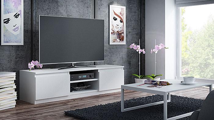 Stojąca biała szafka na telewizor Verta 3X