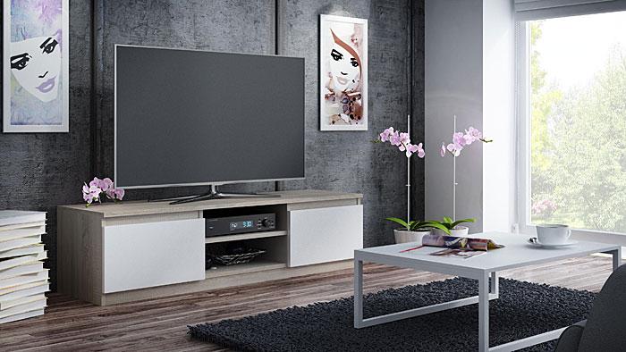 Szafka RTV, LCD biała, dąb sonoma Verta 3X