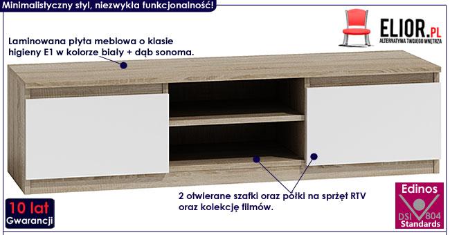 Stojąca szafka pod TV biała, dąb sonoma Verta