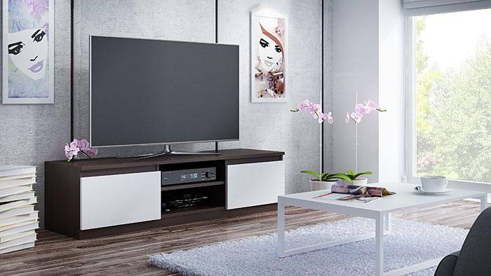 Praktyczna szafka RTV biała, wenge Verta 3X