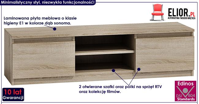 Nowoczesna szafka RTV dąb sonoma Verta