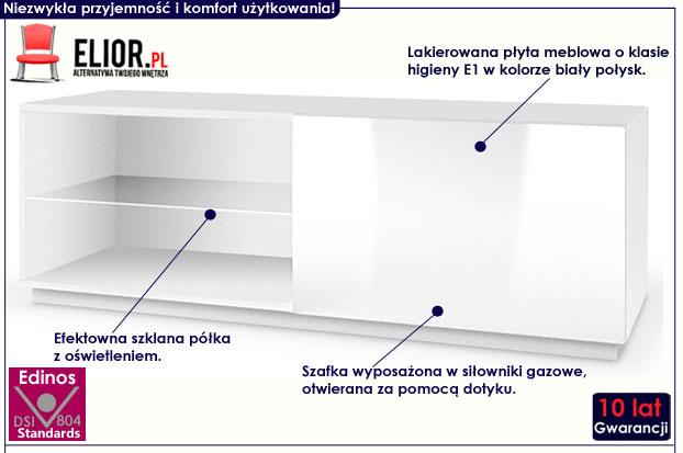 Lakierowana biała szafka RTV z oświetleniem Vomes 4X