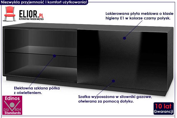 Czarna lakierowana szafka z oświetleniem pod telewizor Vomes 4X