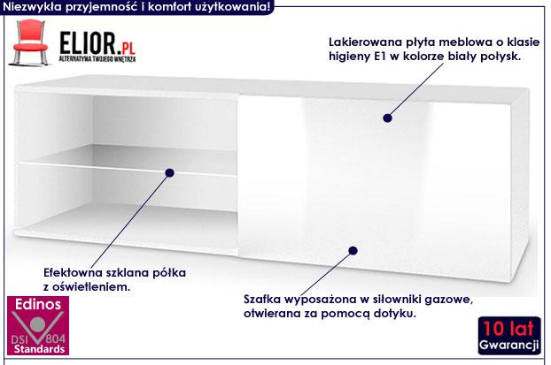 Lakierowana biała szafka wisząca pod telewizor Vomes 5X